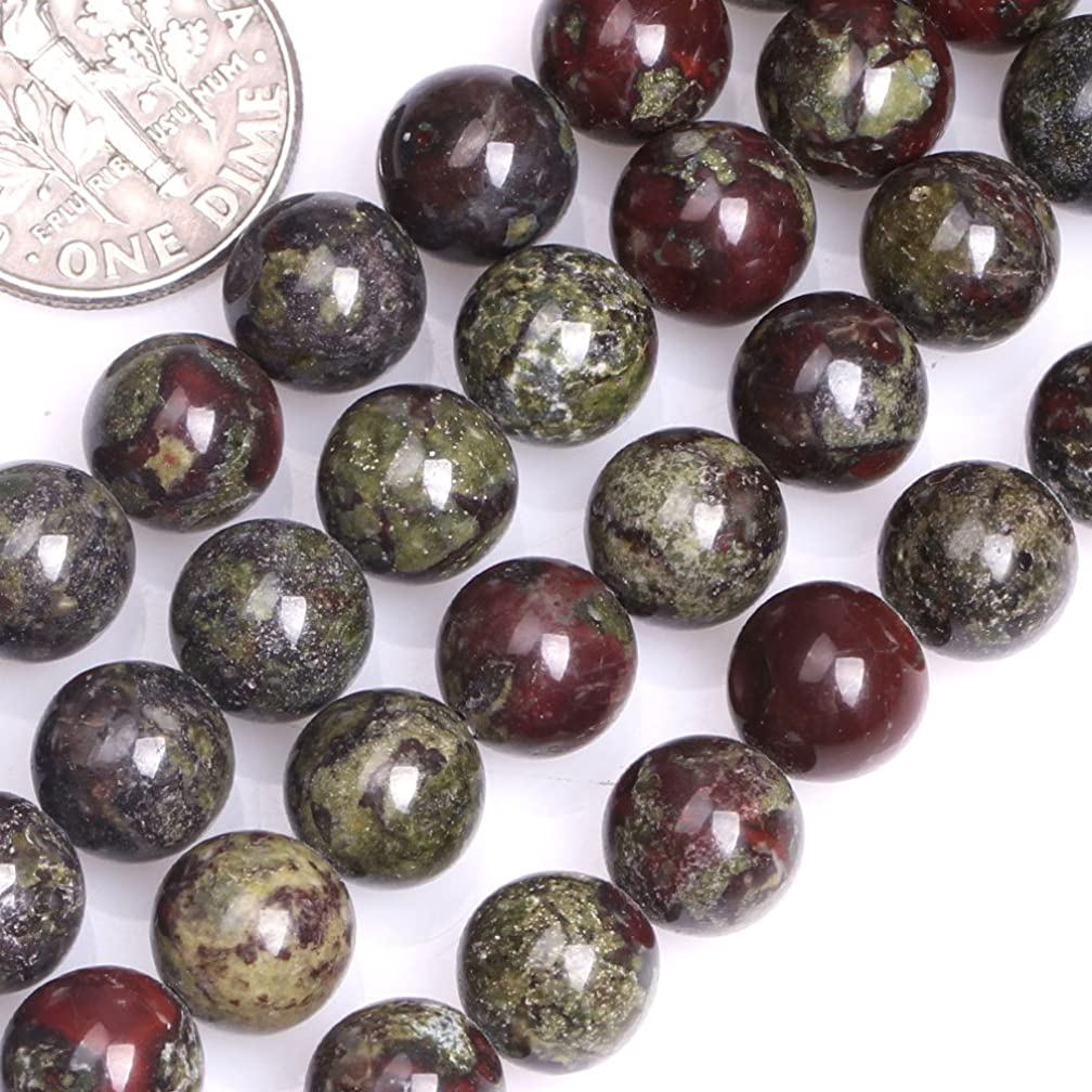 GEM-inside Natural 8mm Round Green Red Australia Blood Jade Beads for Jewelry Making Strand 15