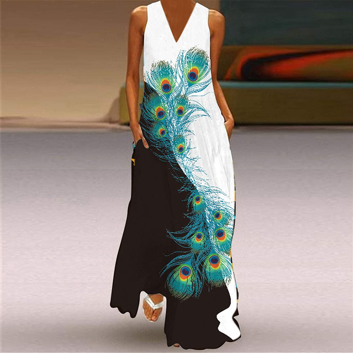 TAYBAGH Beach Dresses for Women Plus Size, Womens Floral Printed Casual Summer Dress Sleeveless Long Dresses with Pocket