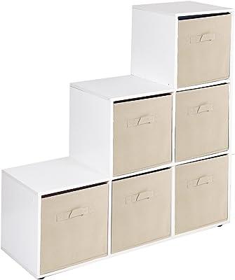 URBNLIVING Estantería de 6 cubos en forma de escalera con 6 cajones, Beige Drawers, White 6 Cubes: Amazon.es: Hogar