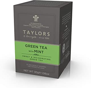 Taylors of Harrogate Green Tea with Mint, 20 Teabags (Pack of 6)