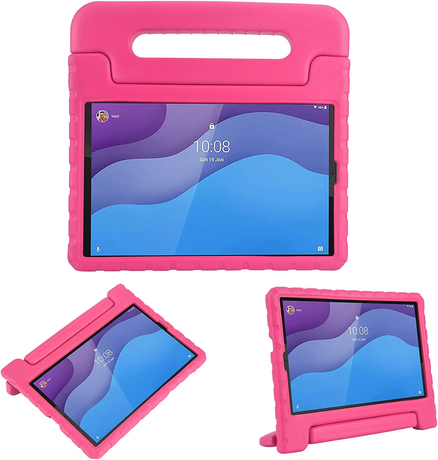 i-original Compatible with Lenovo Tab M10 HD 2nd Gen (TB-X306X) / Smart Tab M10 HD 2nd Gen (TB-X306F) Case,Shockproof EVA Case for Kids,Convertible Handle Lightweight Protective Cove (Rose)