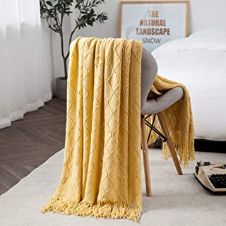 TREELY Yellow Throw Blanket with Fringe Tassels Knitted Throw Blanket Textured Solid Decorative Knit Blanket for Bed Couch, 50 x 67.7, Yellow