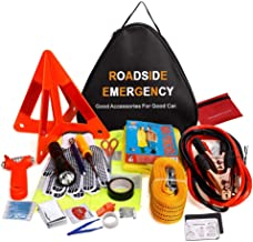 24 in 1 Roadside Assistance Auto Emergency Kit, Multifunctional Breakdown Tool Kits First aid kit (Triangle Bag - Contains Jumper Cables, Tools, Reflective Safety Triangle and Safety Hammer etc)