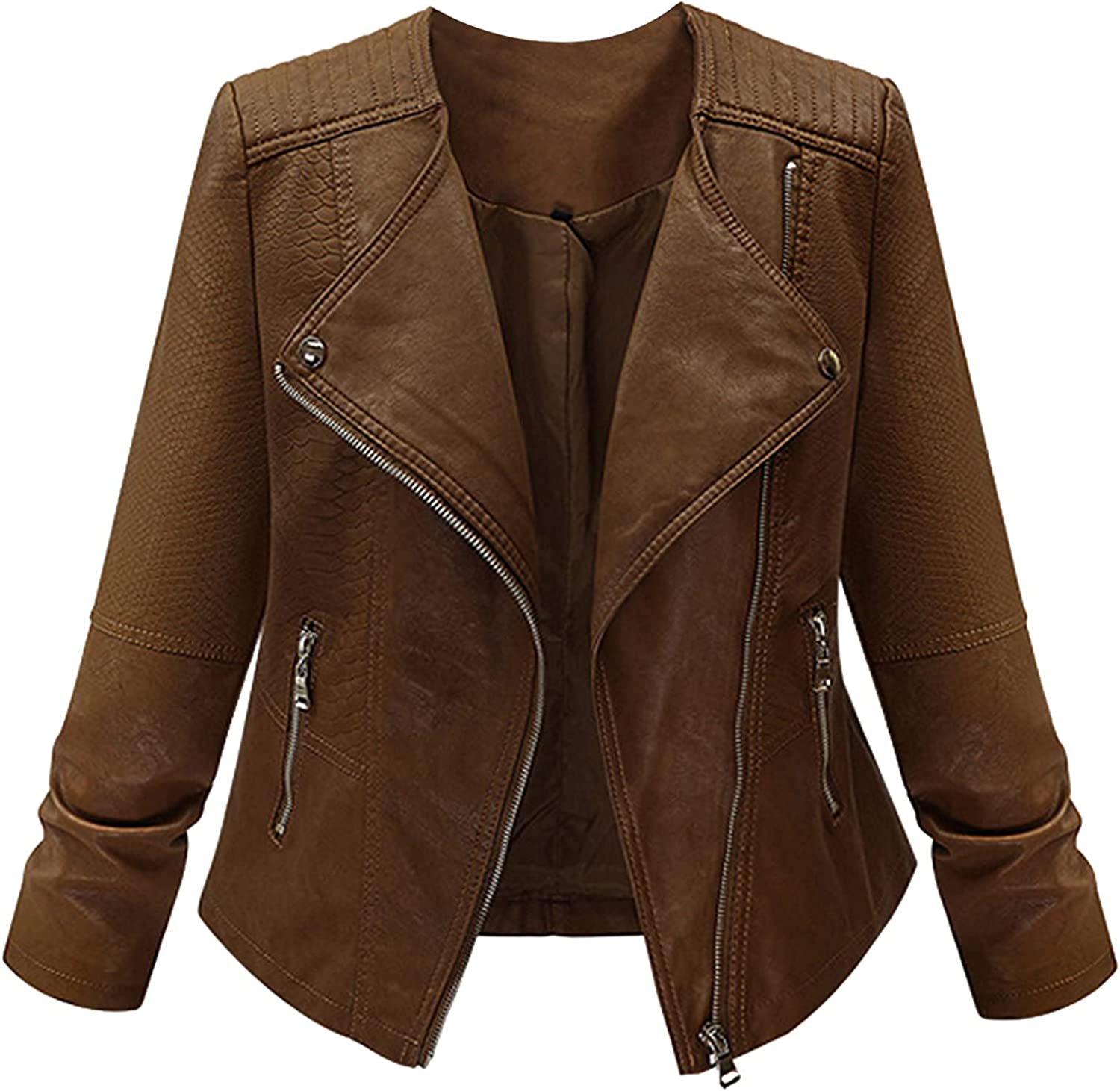 Jackets for Women Fashion Plus Large Size Selling rankings Leather Zipper Manufacturer regenerated product