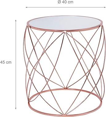 WOMO-DESIGN Set 2 Tavolini da Caffè Ø40x45 cm + Ø45x55 cm Colore Rame Realizzato in Metallo e Vetro Specchio per Soggiorno co