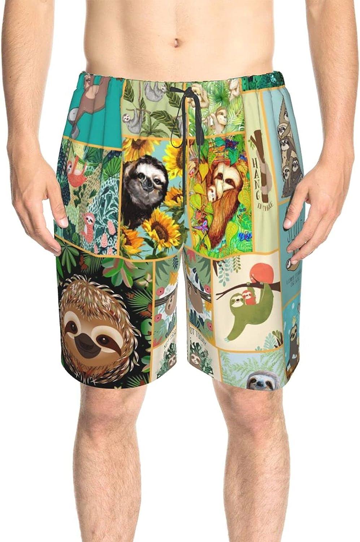 JINJUELS Mens Bathing Suits Happy Sloth Life Beachwear Board Shorts Drawstring Elastic Summer Beach Shorts with Mesh Lining