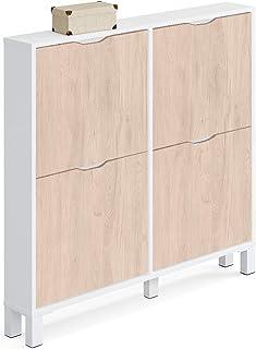 Muebles Pitarch Kay Meuble à chaussures en panneaux de particules et mélamine haute densité Blanc brillant 97 x 98 x 17 cm