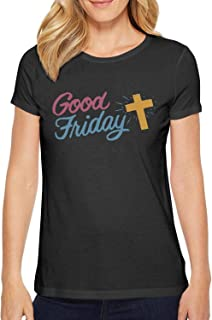 Women's Good Friday Clip Art Round Neck T-Shirts,Summer Casual Short Sleeve Tee