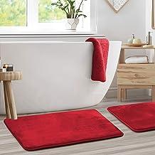 "Clara Clark Memory Foam Bathrug 2 Pack Set - Burgundy - Bath Mat and Shower Rug Large 20"" x 32"" Inches, Non Slip Latex Fre..."