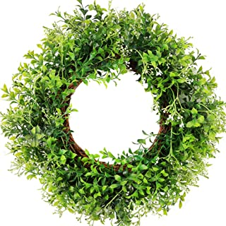 """CEWOR 15"""" Artificial Boxwood Small Wreath Green Leaves Wreath for Front Door Wedding.."""