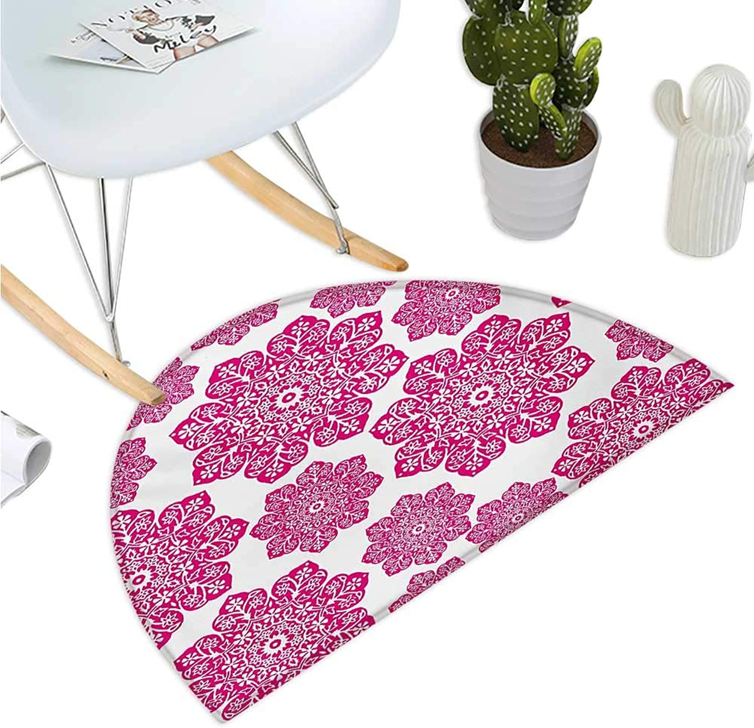 Hot Pink Semicircular Cushion Ethnic Batik Floral Arrangement with Eastern Artistic Design Mandala Pattern Bathroom Mat H 39.3  xD 59  Hot Pink White