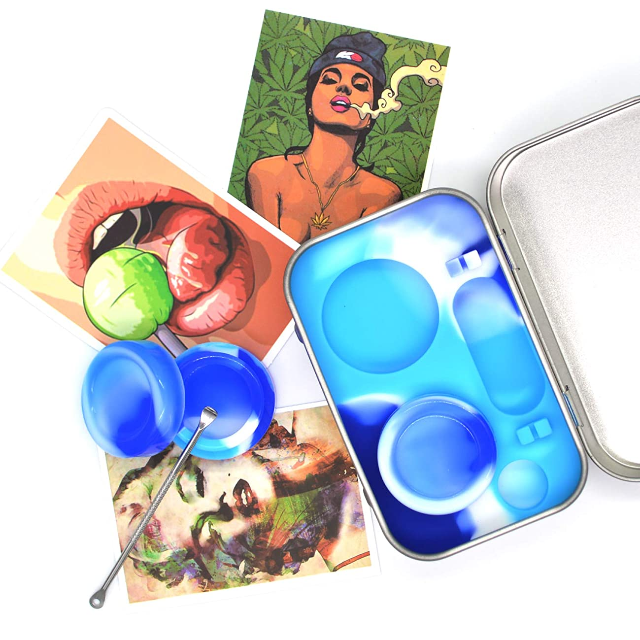 Auchee Wax Oil Container Carving Tool Travel Kit 5ml Silicone Jar (2 units) + Carving Tool (1) + Psychedelic Vinyl Decals Sticker (3) for Storage Sticky Concentration,Balm (Tin Box Kit-Skyblue)