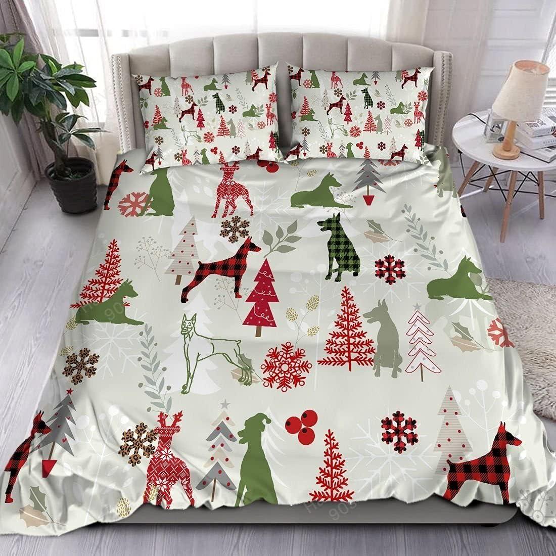 Ultra-Cheap Deals Doberman Bedding Set Christmas V2 Seattle Mall Flannel Comforters