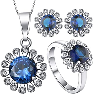 VPbao Sunflower Necklace Earrings Ring Plated 925 Sterling Silver Jewellery Sets Navy Blue