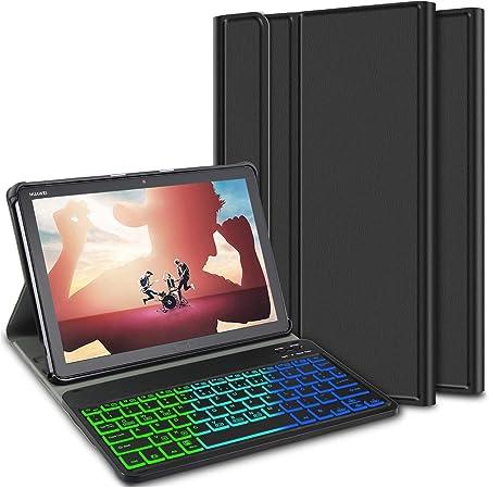 ELTD Teclado Estuche con Portalápices para Huawei MediaPad M5 Lite 10 Pouces,[QWERTY Ingles,Sin ñ],7 retroiluminación LED de Colores con 3 Niveles ...