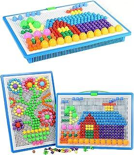 VanStar 296 pcs Mushroom Nails Pegboard Educational Colourful Jigsaw Puzzle Building Blocks Bricks Creative DIY Mosaic Toys for Kids & Toddlers, Perfect Birthday for Girls Boys Age 3-8 years