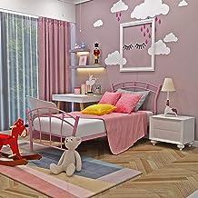 Bed Frame,Girls Pink Bed Frame 3ft Single Metal Bed Frame Bedstead Base Platform with Headboard Footboard Slats Toddler Ki...