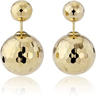 8803007d8 Jewelco London Ladies 9ct Yellow Gold Sparkle Faceted Double Ball Stud  Earrings 16mm