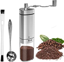 Manual Coffee Grinder with Adjustable Setting, GDREAMT Portable Hand Burr Coffee Grinder for Espresso, Aeropress, Drip Coffee, French Press, Turkish Brew, Conical Burr Mill & Brushed Stainless Steel
