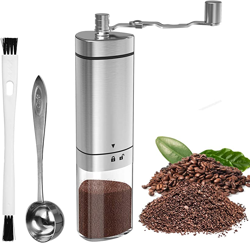 Manual Coffee Grinder With Adjustable Setting GDREAMT Portable Hand Burr Coffee Grinder For Espresso Aeropress Drip Coffee French Press Turkish Brew Conical Burr Mill Brushed Stainless Steel