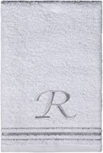 Saturday Knight Classic Script Monogram White Turkish Cotton Towel, 16-Inch by 25-Inch Hand Towel, Letter R
