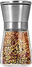 Salt and Pepper Grinder Premium Stainless Steel Salt Pepper Shaker Adjustable Coarseness Spice Grinder Glass Body Refillab...