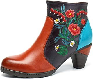 socofy Leather Ankle Boots,Women's Handmade Retro Blossom Embroidery Pattern Side Zipper Block Heel Shoes