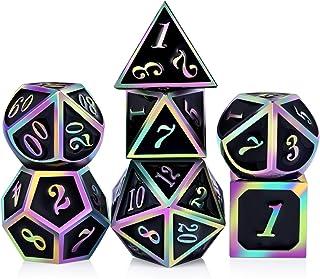 DNDND Rainbow Edge 7 Pieces Metal Dice Set DND Polyhedarl Heavy D&D Dice Set with..