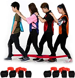 4 Legged Race Band, Outdoor Party Group Game for Kid Adult, Cooperative Team Race for Birthday Party, Relay Race, Field Day, Team-Building, Backyard Activity Game with Carrying Pouch(Red)