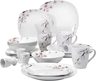 VEWEET 20-Piece Square Porcelain Dinnerware Sets Service for 4 Ivory White Floral Pattern Dinner Plate Sets Bowl Set (ANNIE Series)