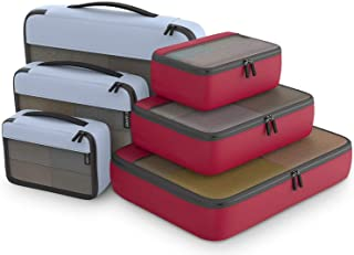 Packing Cubes Organizer Bags For Travel Accessories Packing Cube Compression 6 Set For Luggage Suitcase (Gray Red)