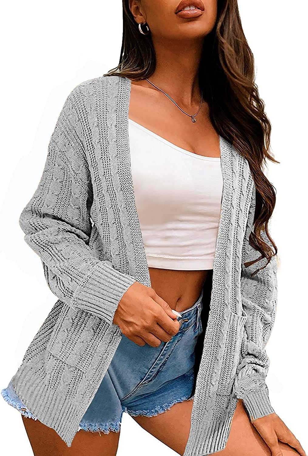 Niceyi Women's Casual Sweater Long Sleeve Soft Chunky Knit Open Front Cardigan Oversized Outwear with Pockets