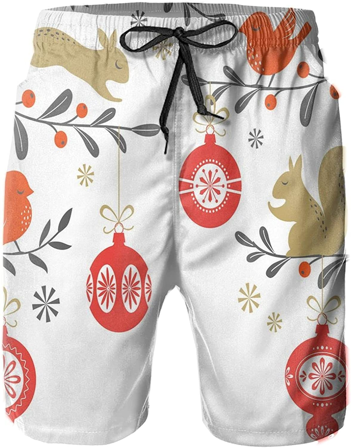 Winter Themed Holly Berry Branches with Squirrels and Red Bird Silhouettes Forest Mens Swim Shorts Casual Workout Short Pants Drawstring Beach Shorts,M