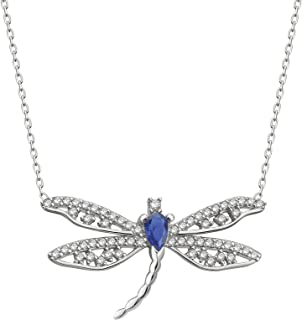 Rhodium-Plated Sterling Silver with Cubic Zirconia Gems Butterfly Pendant Necklace, 16