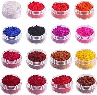 Merkts Polvo de pigmento comestible de 16 colores pigmento de bricolaje en polvo mineral natural utilizado para hacer bri...