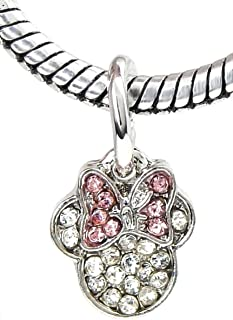 J&M Dangle Crystal Mouse with Pink Bow Charm Bead for Charms Bracelets