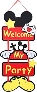 PANTIDE Mickey Mouse Party Supplies Mickey Mouse Door Decoration︱Welcome to My Party Door Sign Welcome Hanger Door Poster Banner Home Decoration