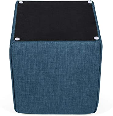 Homebeez Ottoman Stool Cube Foot Rest Small Square Coffee Table (Dark Blue)