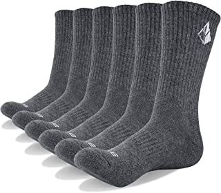 YUEDGE 6 Pack Men and Women Performance All Season Cotton Cushion Crew Work Casual Socks