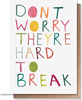 Funny Baby Boy or Girl Card by Wunderkid - Don't Worry They Are Hard to Break (Blank inside)