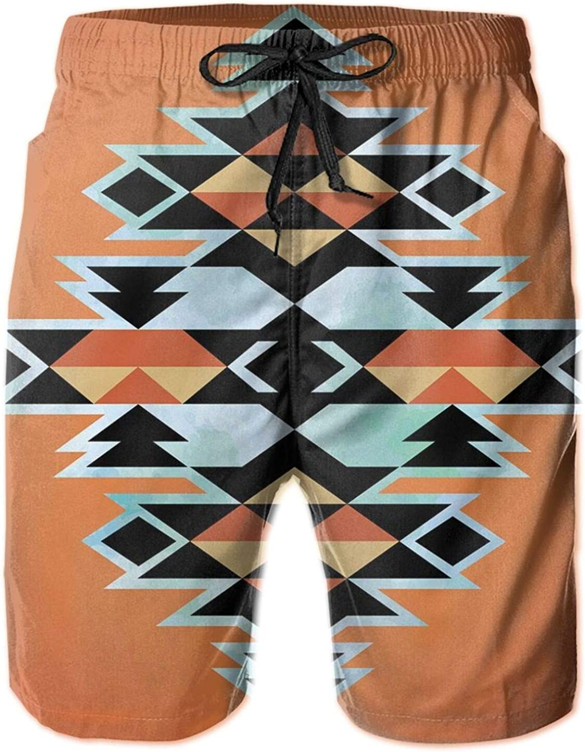 Tribal Aztec Pattern Ethnic Abstract Design Traditional Elements Print Mens Swim Trucks Shorts with Mesh Lining,M