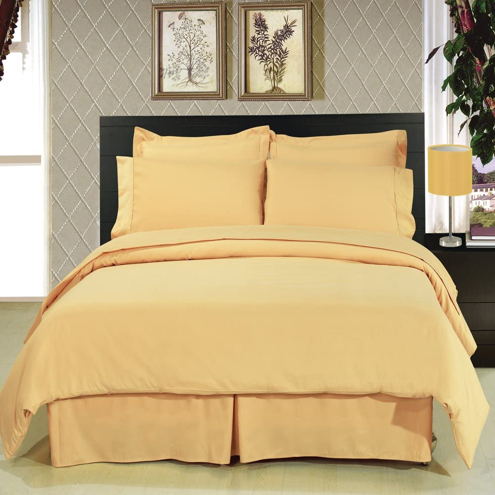 Weekly update 4PC Bedding Set Solid Gold California King Boston Mall Size Comfort