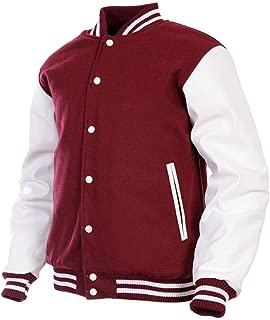 Women Varsity Jacket Genuine Leather Sleeve and Wool Blend Letterman Ladies Girls College Varsity Jackets XS-4XL