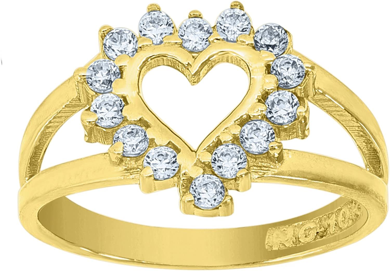 10kt Yellow gold Womens Round Cubic Zirconia CZ Heart Fashion Ring