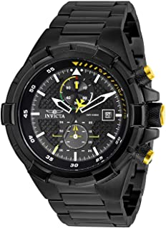 Invicta Men's Aviator Analog Quartz Watch with Stainless Steel Strap, Black, 26 (Model: 28110