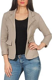 c4b438d1055a7 Malito Femme Classique Veste Basic-Look Court Jersey Blazer 1654