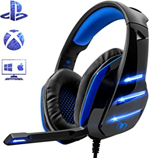 Beexcellent Gaming Headset for PS4 Xbox One PC, Noise Reduction Crystal Clarity 3.5 mm Professional Game Headphones with Microphone for Laptop Tablet Mac ... (Blue)