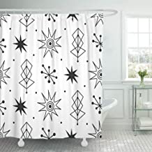 Jszna Shower Curtain Black 1960S Mid Century Modern 1950S Vintage Atomic Retro Shower Curtains Sets with 12 Hooks 60 x 72 Inches Waterproof Polyester Fabric