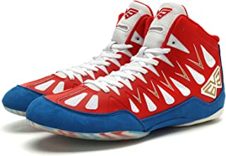 HwwPrime Boxing Shoes, High-Top Men's & Women's Fighting Shoes, Competition Wrestling Indoor Fitness Sports Shoes,Red,42 EU