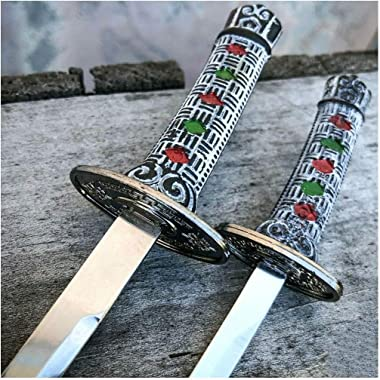 """8"""" & 6.5"""" Samurai Style Letter Opener with Stand (Black)"""